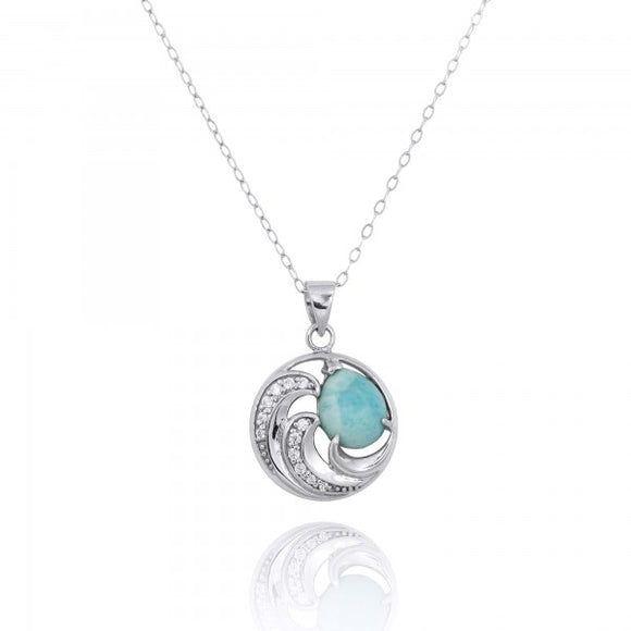 [NP11327-LAR-WHCZ] Sterling Silver Wave Pendants with Larimar and White CZ