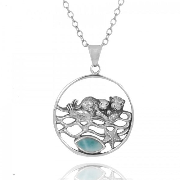 [NP12809-LAR] Mother Otter with Baby Oxidized Silver Pendant with Marquise Larimar and Silver Starfish