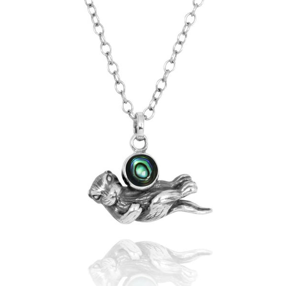[NP12863-ABL] Floating Sea Otter Holding Round Abalon shell Oxidized Silver Pendant