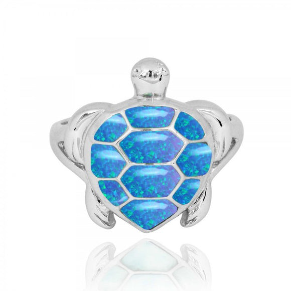 [NRB6917-BLOP] Sterling Silver Turtle Ring with Simulated Blue Opal