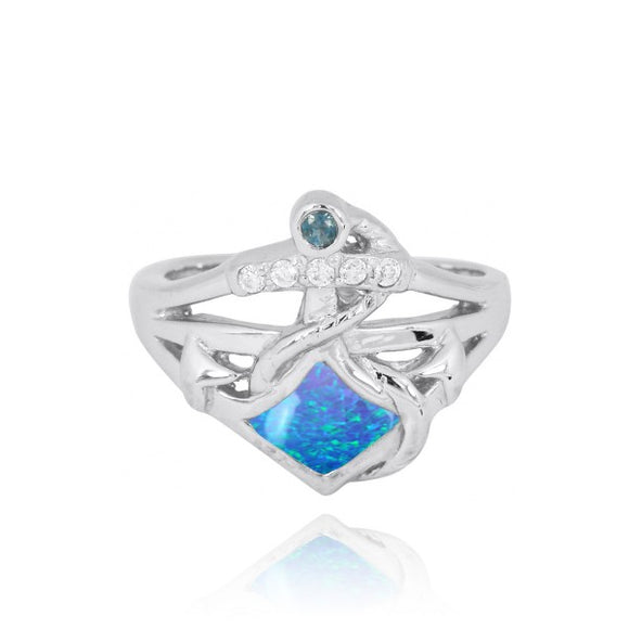 [NRB6918-BLOP] Sterling Silver Anchor Ring with Simulated London Blue Topaz and White CZ