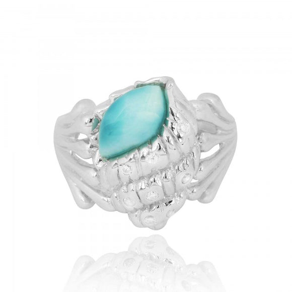 [NRB6919-LAR-WHCZ] Sterling Silver Conch Shell Ring with Larimar