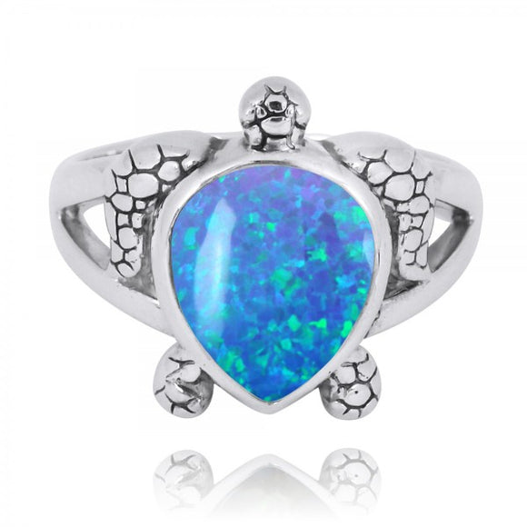 [NRB7224-BLOP] Sterling Silver Turtle Ring with Teardrop Simulated Blue Opal