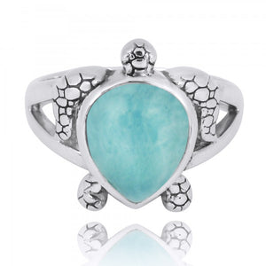 [NRB7224-LAR] Sterling Silver Turtle Ring with Teardrop Larimar