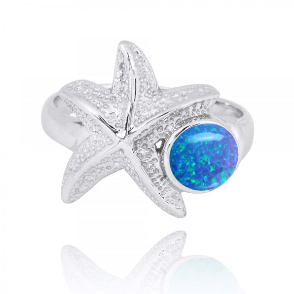 [NRB7225-BLOP] Sterling Silver Starfish Ring with Round Simulated Blue Opal