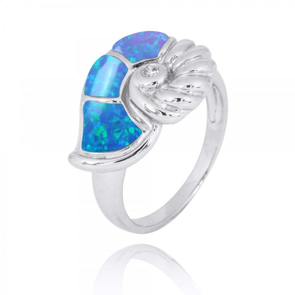 [NRB7776-BLOP] Sterling Silver Seashell Ring with Simulated Blue Opal and White CZ