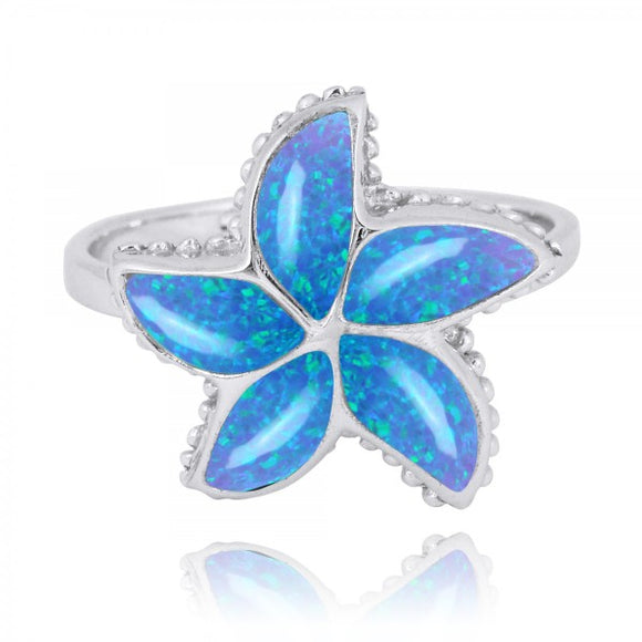 [NRB7779-BLOP] Sterling Silver Starfish Ring with Simulated Blue Opal