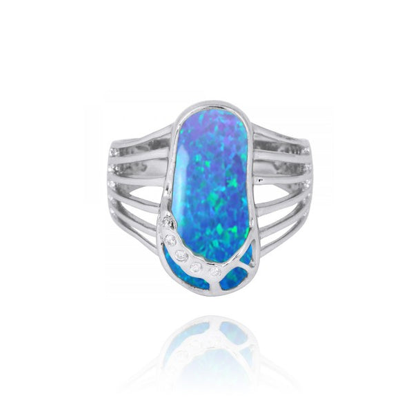 [NRB7784-BLOP] Simulated Blue opal Sandal Sterling Silver Ring with White CZ