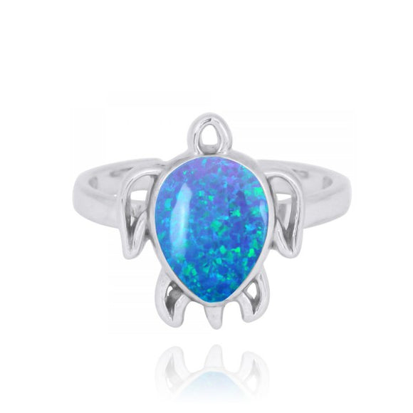 [NRB7821-BLOP] Sterling Silver Turtle Ring with Simulated Blue Opal
