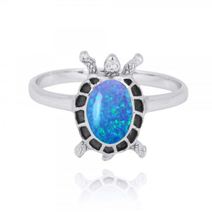 [NRB8293-BLOP] Sterling Silver Turtle Ring with Simulated Blue Opal