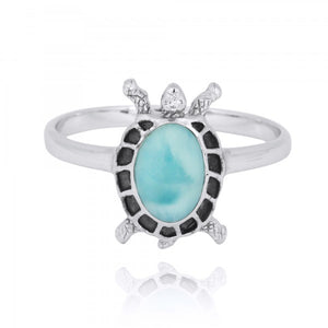 [NRB8293-LAR] Sterling Silver Turtle Ring with Larimar