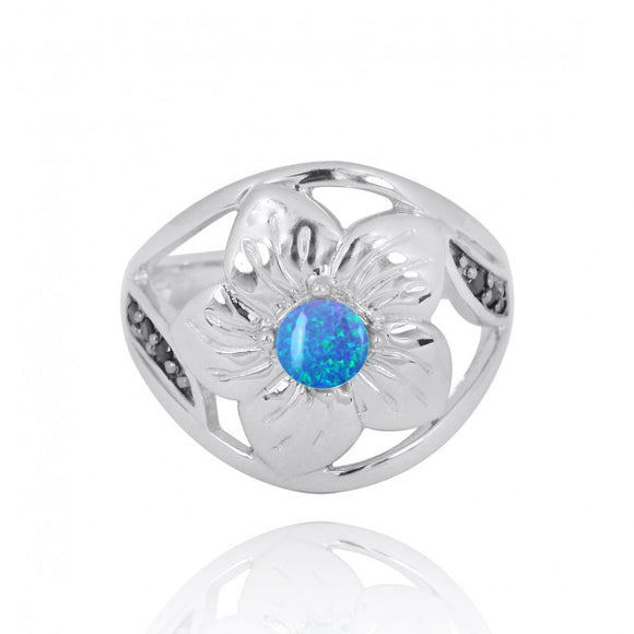 [NRB8364-BLOP] Sterling Silver Hibiscus Ring with Round Simulated Blue opal and Black Spinel