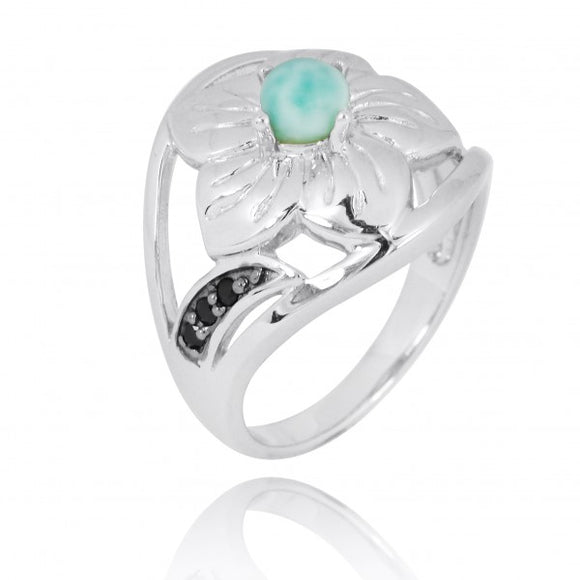 [NRB8364-LAR-BKSP] Sterling Silver Hibiscus Ring with Round Larimar and Black Spinel
