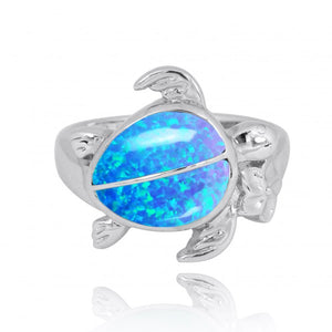 [NRB8366-BLOP] Sterling Silver Turtle Ring with 2 Simulated Blue Opal Stones