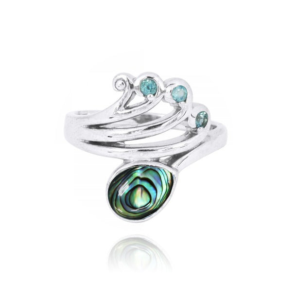 [NRB8367-ABL] Sterling Silver Wave Ring with Swiss Blue Topaz Crests and Pear Shape Abalon