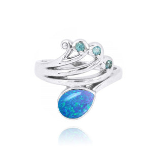 [NRB8367-BLOP] Sterling Silver Wave Ring with Swiss Blue Topaz Crests and Pear Shape Simulated Blue opal