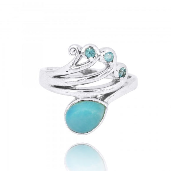 [NRB8367-LAR-SWBLT] Sterling Silver Wave Ring with Swiss Blue Topaz Crests and Pear Shape Larimar