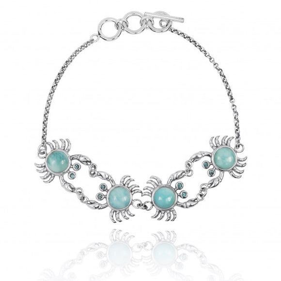 [NB1436-LAR-SWBLT] Sterling Silver Crab with Larimar Chain Bracelet