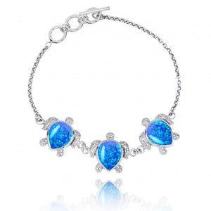[NB1451-BOLP] Triple Turtle with Simulated Blue Opal Sterling Silver Bracelet