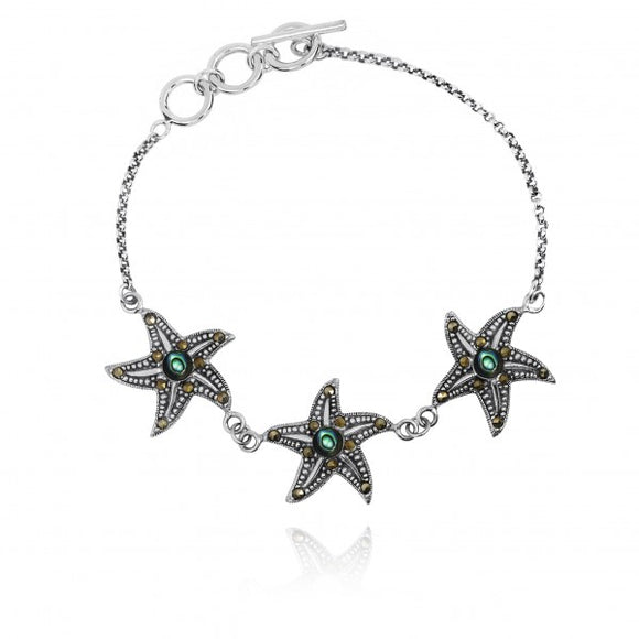 [NB1453-ABL-MRC] Triple Starfish with Abalon shell and Marcasite Sterling Silver Bracelet