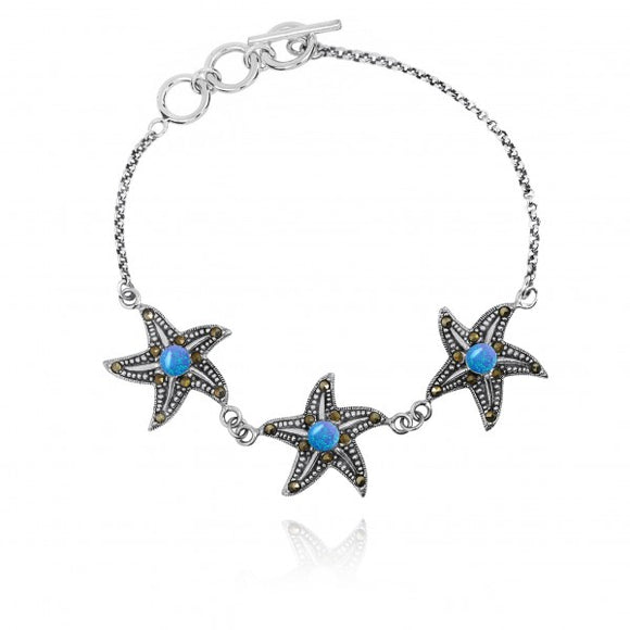 [NB1453-BLOP-MRC] Triple Starfish with Simulated Blue Opal and Marcasite Sterling Silver Bracelet