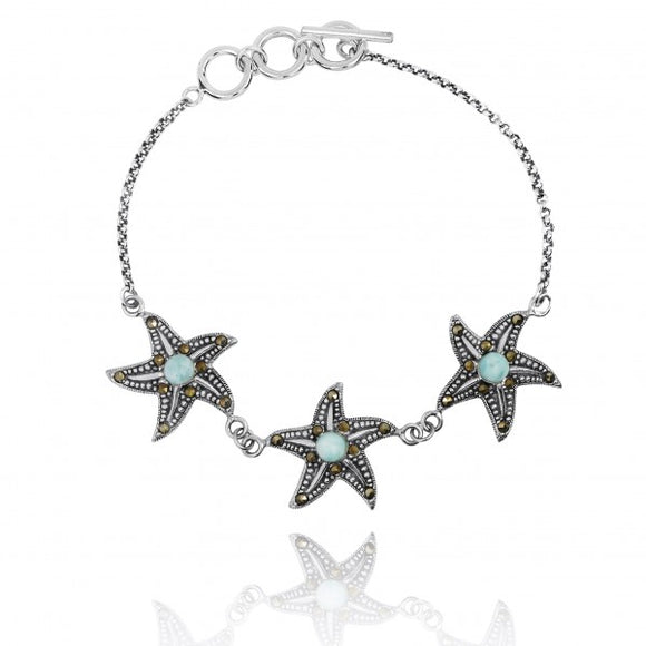 [NB1453-LAR-MRC] Triple Starfish with Larimar and Marcasite Sterling Silver Bracelet