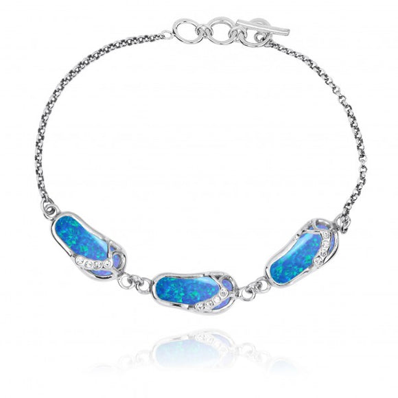 [NB1454-BLOP-WHCZ] Sterling Silver Sandals with Simulated Blue Opal and White CZ Chain Bracelet