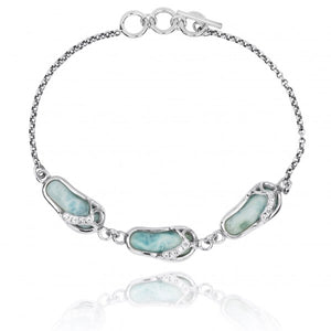[NB1454-LAR-WHCZ] Sterling Silver Sandals with Larimar and White CZ Chain Bracelet