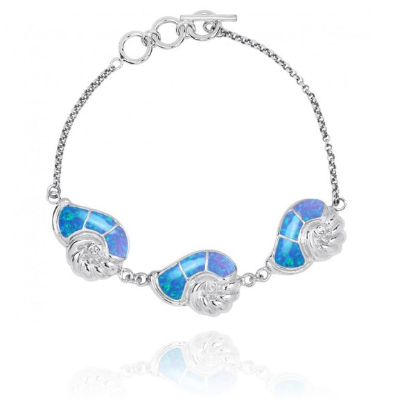 [NB1457-BLOP-CRS] Sterling Silver Seashell with Simulated Blue opal and Crystal Chain Bracelet