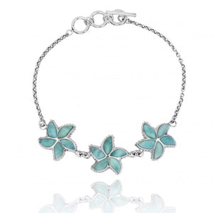 [NB1456-LAR] Sterling Silver Starfish with Larimar Chain Bracelet