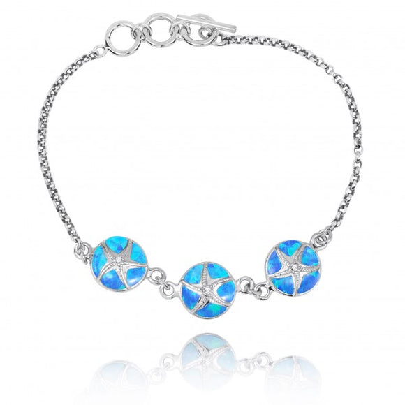 [NB1455-BLOP-CRS] Simulated Blue Opal with Sterling Silver Starfish Chain Bracelet