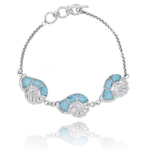 [NB1457-LAR-CRS] Sterling Silver Seashell with Larimar and Crystal Chain Bracelet