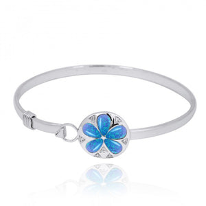 [NB1458-BLOP-WHCZ] Sterling Silver Silver Sand Dollar with Simulated Blue Opal and White CZ Bangle