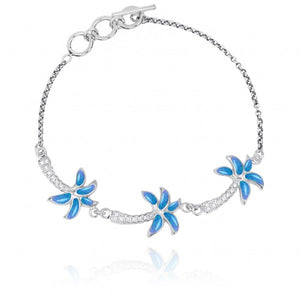 [NB1463-BLOP-WHCZ] Sterling Silver Palm Trees with Simulated Blue opal and White CZ Chain Bracelet
