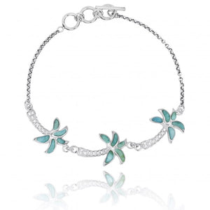 [NB1463-LAR-WHCZ] Sterling Silver Palm Trees with Larimar and White CZ Chain Bracelet