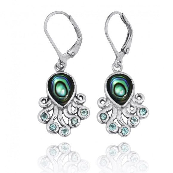 [NEA2792-ABL-SWBLT] Sterling Silver Octopus with Abalon shell and Swiss Blue Topaz Lever Back Earrings