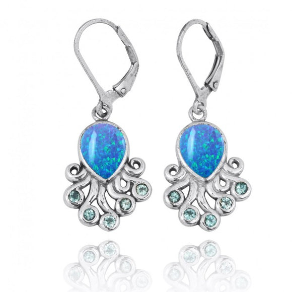 [NEA2792-BLOP-SWBLT] Sterling Silver Octopus with Simulated Blue Opal and Swiss Blue Topaz Lever Back Earrings