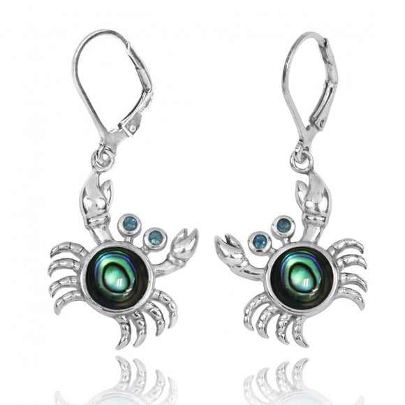 [NEA2794-ABL-LBLT] Sterling Silver Crab with Abalon shell and London Blue Topaz Lever Back Earrings