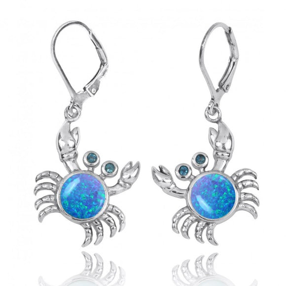 [NEA2794-BLOP-LBLT] Sterling Silver Crab with Simulated Blue Opal and London Blue Topaz Lever Back Earrings