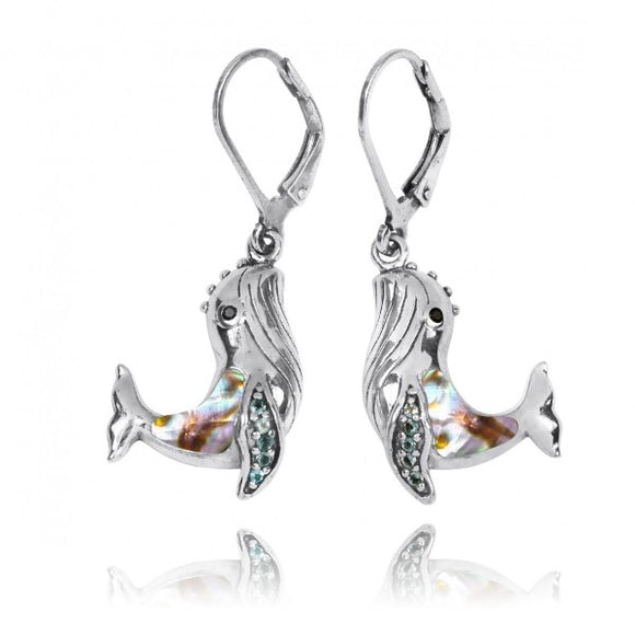 [NEA2795-ABL-SWBLT-BKSP] Sterling Silver Whale with Abalon shell, London Blue Topaz and Black Spinel Lever Back Earrings
