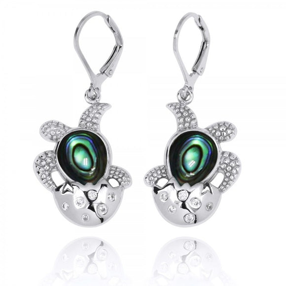 [NEA3105-ABL-WHCZ] Sterling Silver Egg and Turtle with Abalon shell Lever Back Earrings