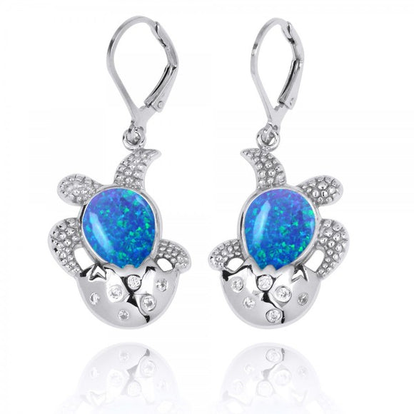 [NEA3105-BLOP-WHCZ] Sterling Silver Egg and Turtle with Simulated Blue Opal Lever Back Earrings