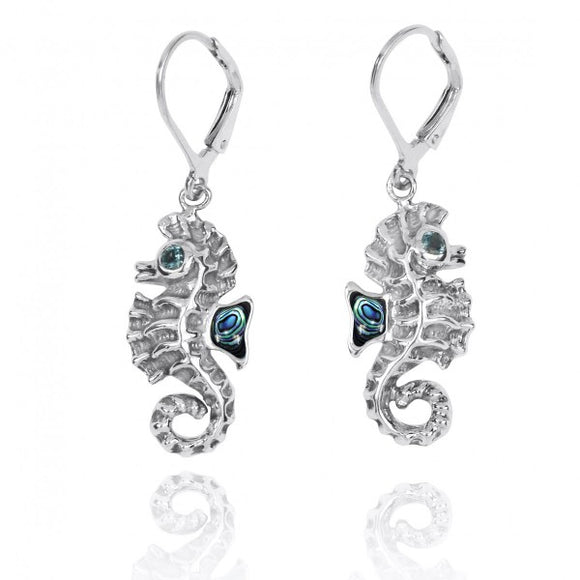 [NEA3141-ABL-LBLT] Sterling Silver Seahorse Lobster Clasp Earrings with Abalon shell and London Blue Topaz