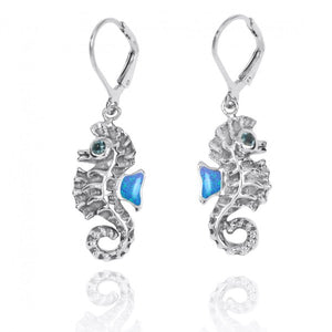 [NEA3141-BLOP-LBLT] Sterling Silver Seahorse Lobster Clasp Earrings with Simulated Blue Opal and London Blue Topaz