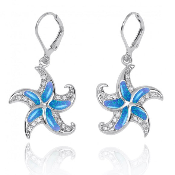 [NEA3222-BLOP-WHCZ] Starfish Lever Back Earrings with Simulated Blue Opal and White CZ
