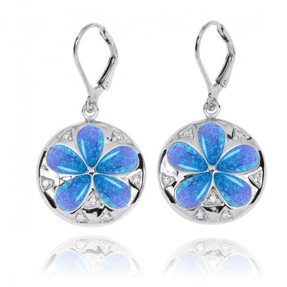 [NEA3224-BLOP-WHCZ] Sand Dollar Lever Back Earrings with Simulated Blue Opal and White CZ