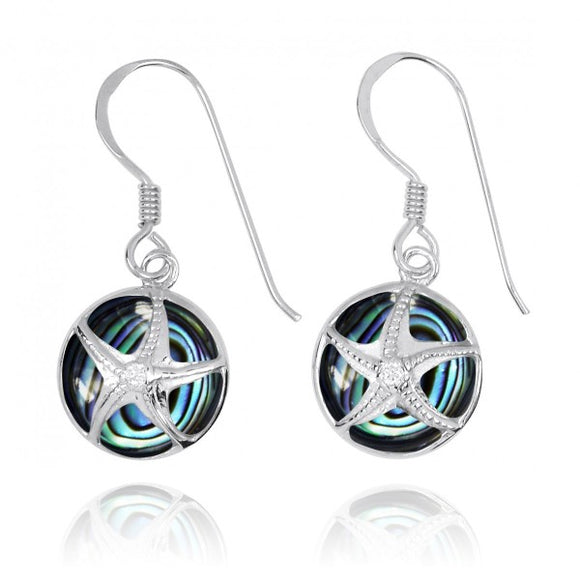 [NEA3242-ABL-CRS] Silver Starfish with Crystal on Abalon shell French Wire Earrings