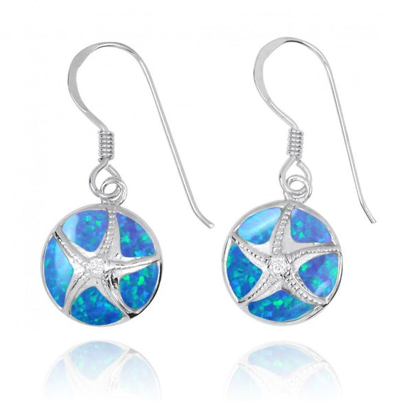 [NEA3242-BLOP-CRS] Silver Starfish with Crystal on Simulated Blue Opal French Wire Earrings