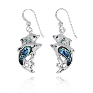 [NEA3243-ABL-SWBLT-BKSP] Sterling Silver Dolphin Drop Earrings with Abalon shell and Swiss Blue Topaz