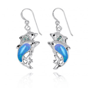 [NEA3243-BLOP-SWBLT-BKSP] Sterling Silver Dolphin Drop Earrings with Simulated Blue Opal and Swiss Blue Topaz